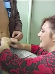 Cockloving mommy blowing two dicks and getting screwed on the stairway