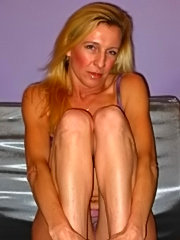 Blonde mom toying with herself