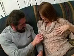 Sizzling red headed milf gets pounded by a burly dude with a long cock
