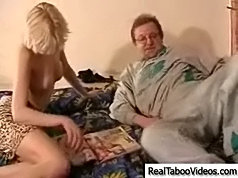 It didn\'t take old man long to tempt his cute neighbor and she desperately wanted a stiff cock between her legs