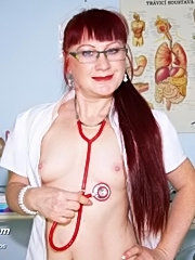 Redhead mature nasty nurse olga pussy gaping on gyno chair
