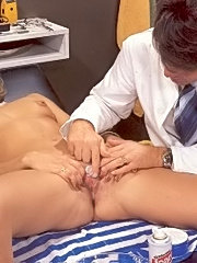 Doctor preparing to shave a hairy retro pussy
