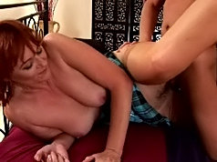 Redheaded older women fucks her young lover