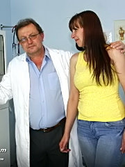 Mature karin with very hairy pussy visits gyno office with a kinky doctor