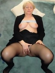 Pantyhose nubile hottie with nice handful tits and shaved twat posing naked