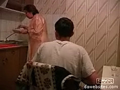 Old bitch gets fucked like a dirty slut by a teen in the kitchen