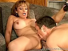Pale mature lady rides cock asslicked & gets a cock in her old asshole