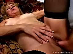 Older dame had to suck three cocks first and then the guys used her mature slit one by one