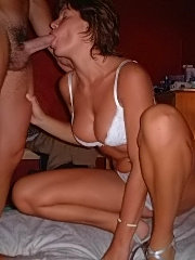 Amateur milf babe does group blowjob sex with two