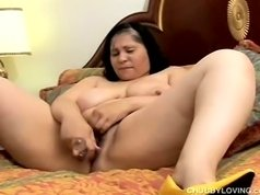 Beautiful brunette of big tits show