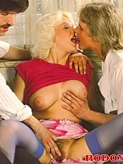 Hairy classic lady fucked by two retro guys