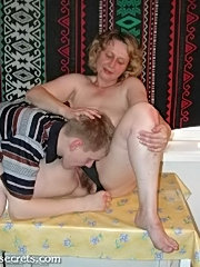 Horny mature housewife rides her lovers hard dick while her husband is out