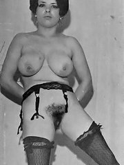 Vintage pornography - some early b&w photos of hairy lesbians tonguing their cunts