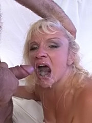 Blonde granny loving it from behind
