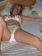 Two milf amateur wives sharing a cock