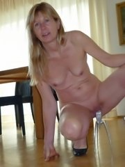 Skinny old bitch stripping nude for young boy