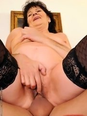 Horny blonde grandma fucking with her young friend
