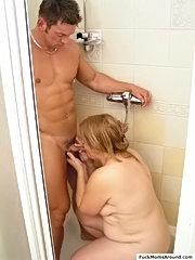 Fat wet milf enjoys being railed by a hot young fucker in the shower