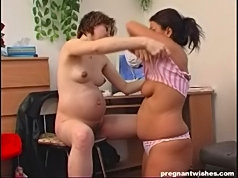 Natural pregnant hairy pussy spread