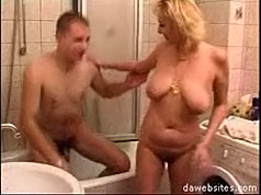 Wet mature pussy gets drilled deep by a teen stud in the bathroom