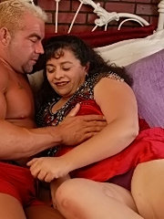 Chubby fatty old mature granny handling large dick