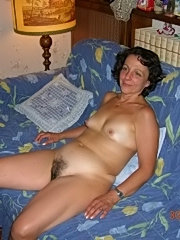 Mom spreads hairy pussy to fuck
