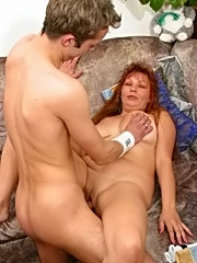 Cute lad gets seduced by his friend's sexy mom
