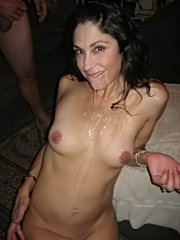 Busty brunette milf shows tits and gets ass licked