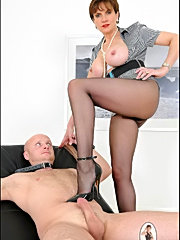 A horny guy and his wife dressed in a man's suit licks and fucks innocent young gal.