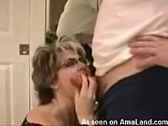 The busty wifey sucking me off
