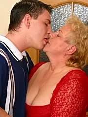 She is old but dresses sexy to seduce a younger guest