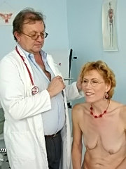 Older mature mila being speculum examined at kinky gyno clinic