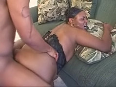 Plump ebony with massive tits grinding on top