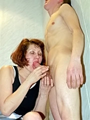 Close view of naked male doing mature woman in the bathroom