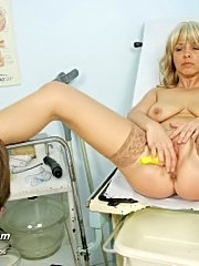 Hot milf jirina visits her gyno doctor to have her mature pussy examined