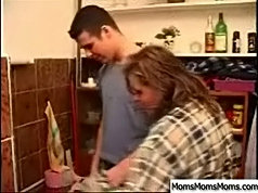 Milf really liked the way her young lover used his tool and she begged him for another fuck right on the kitchen floor