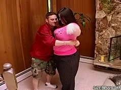Fat bbw holding big boobs when fucked in huge ass