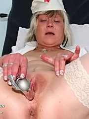 Mature naughty nurse nada pussy gaping with her fingers