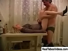 Old man fucks his teen neighbor in doggy-style and after a short brake he fucks her lying on the table