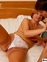 Horny young chap seduces his friend's old mom for playing dirty games