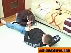 Lascivious mature chick getting her yummy pussy crammed on all her fours