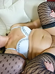 Big ass chick in black fishnet outfit fucking massive man meat
