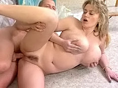 Passionate hard fucking of dissolute mommy and her sex crazed strong boyfriend.