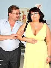 Fat and busty mature visits gyno clinic to have big tits and pussy checked