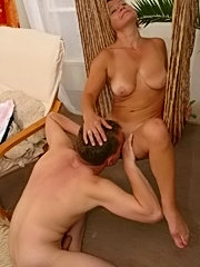 Sexy milf blondie seduces a younger lad because she gets bored