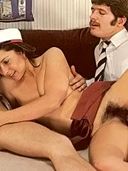 Hairy eighties student fucked by two big guys