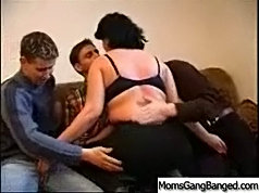 Milf served her three boyfriends one by one and at the end she asked them to fuck her all at once