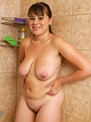 Beautiful young chubby taking a shower