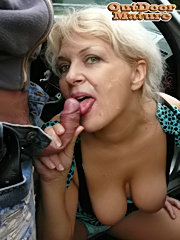 This mature slut loves the taste of cock in the car