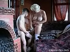Hot young stud is lucky to fuck a gorgeous blond mature slut in her bed
